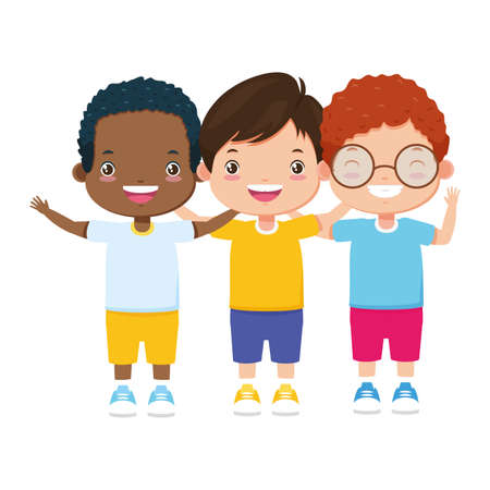 three boy embraced characters happy vector illustration