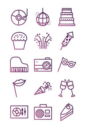 bundle of party set icons vector illustration design