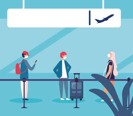 Man and women with medical masks and bag design, Cancelled flights travel and airport theme Vector illustration