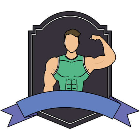 young strong man athlete in frame vector illustration design