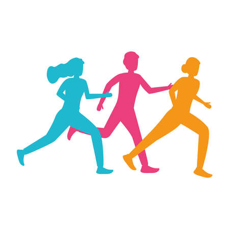 young people silhouettes running avatars characters vector illustration design
