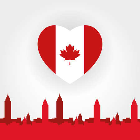 canada day celebration card with flag in heart and cityscape vector illustration design Ilustração