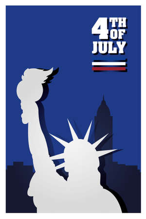 Liberty statue in front of city buildings design, Happy independence day 4th july and usa theme Vector illustration
