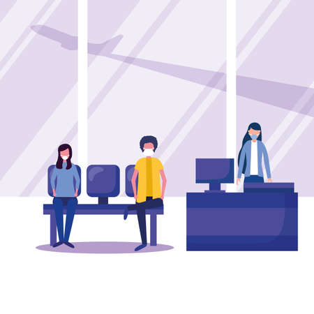 Man and woman with medical mask on chair and reception design, Cancelled flights travel and airport theme Vector illustration