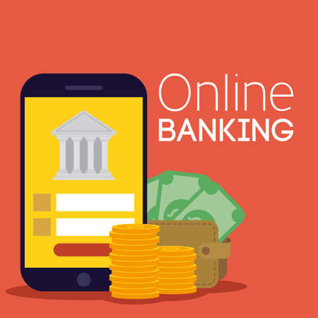 banking online technology with smartphone vector illustration design