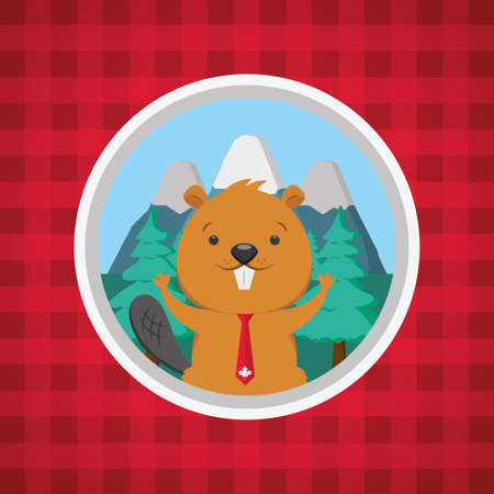 beaver checkered red background happy canada day vector illustration
