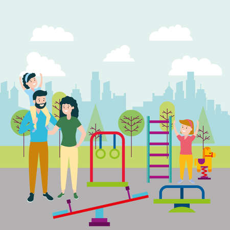 dad mom and daughter in the playground vector illustration Vettoriali