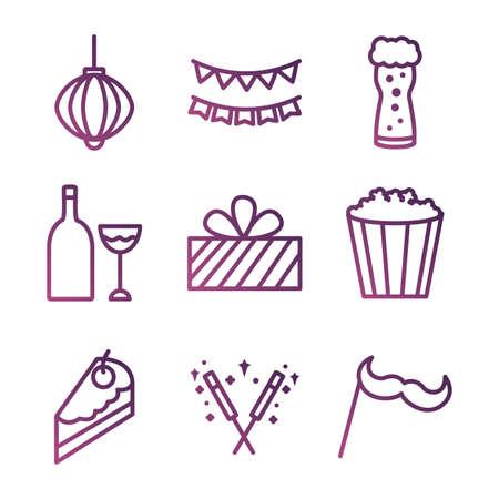 bundle of party set icons vector illustration design