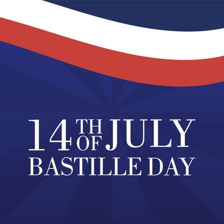 bastille day celebration card with france flag vector illustration design Ilustração