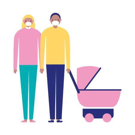 Mother father and baby with masks design, Family relationship and generation theme Vector illustration