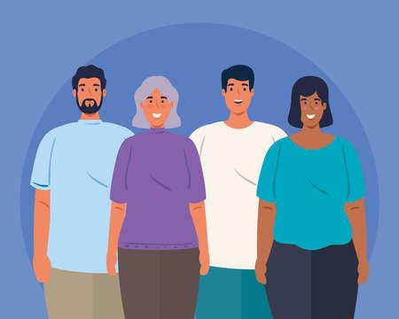 multiethnic young people together, cultural and diversity concept vector illustration design Ilustración de vector