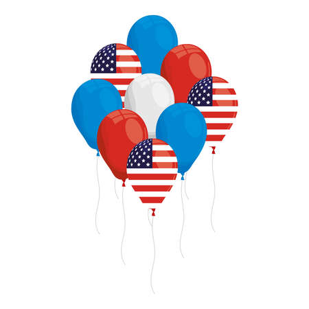 balloons helium with usa flags icons vector illustration design