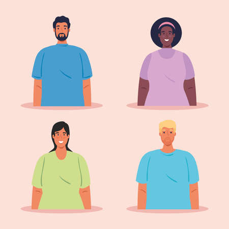 pictures multiethnic group of people, cultural and diversity concept vector illustration design 向量圖像