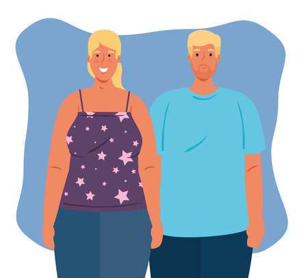 blonde hair couple, cultural and diversity concept vector illustration design