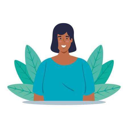mulatto young woman in nature scene vector illustration design Ilustración de vector