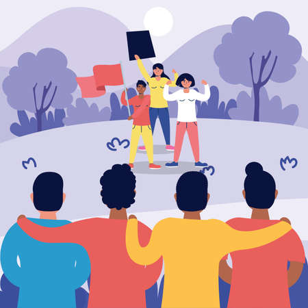 interracial strong people protesting characters vector illustration design