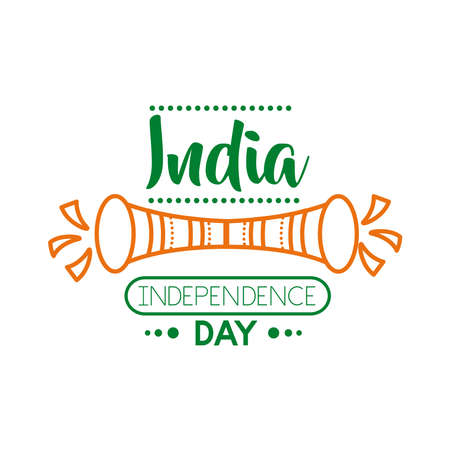 Independece day india celebration with trumpet line style icon vector illustration design