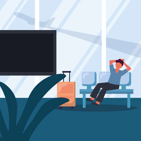 Man with travel bag on chair design, Cancelled flights travel and airport theme Vector illustration