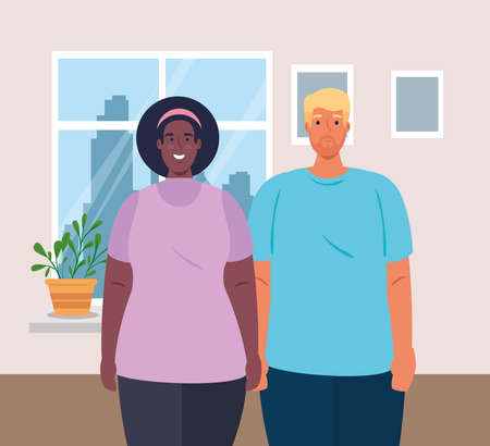 multiethnic couple in the house, cultural and diversity concept vector illustration design