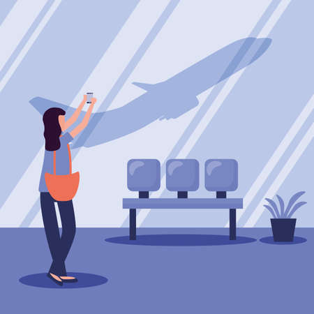 Woman taking picture at airport design, Cancelled flights travel and airport theme Vector illustration