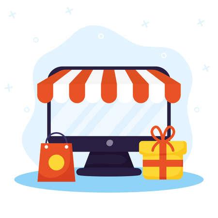 shopping on line technology with desktop vector illustration design