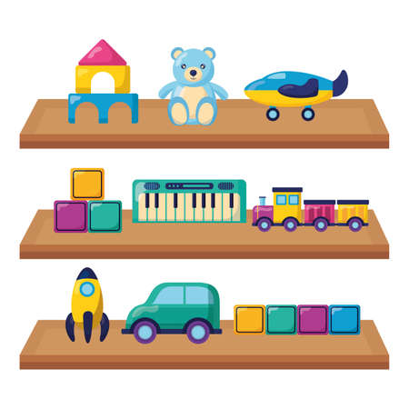 kids toys rocket bear car train cubes plane in shelf wooden vector illustration