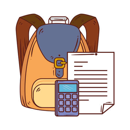 calculator with paper document and school bag in white background vector illustration design