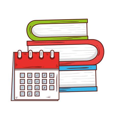 school symbol, calendar reminder in pile of books literature vector illustration design