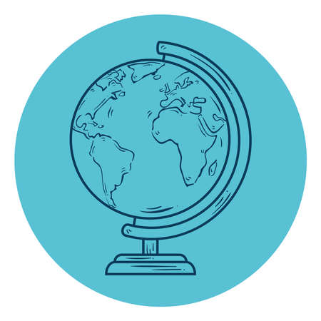 world planet earth school supply, line style in circle frame vector illustration design Vectores