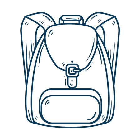 cute school bag, line style icon vector illustration design