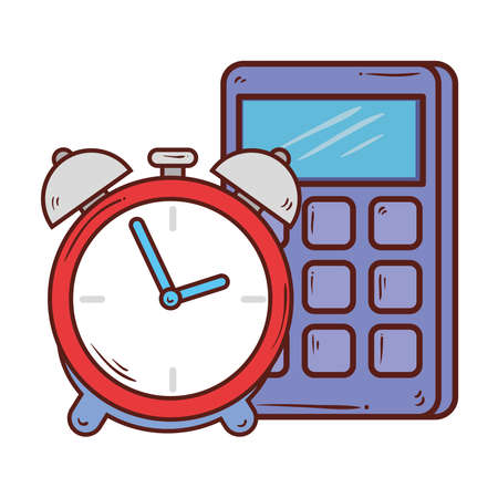 calculator math with alarm clock on white background vector illustration design