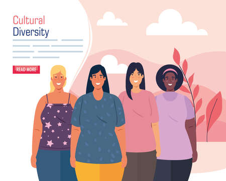 multiethnic group women, cultural and diversity concept vector illustration design