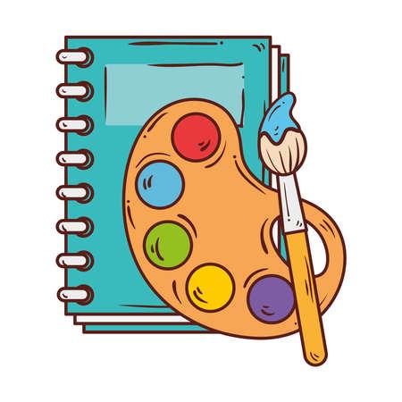 palette with paint brush and notebook, on white background vector illustration design Ilustração