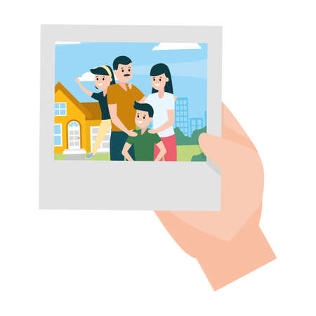 hand with photo happy family front house vector illustration design