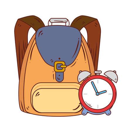 alarm clock with school bag in white background vector illustration design