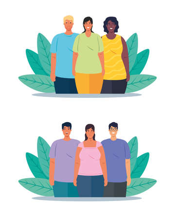 set scenes of multiethnic people, cultural and diversity concept vector illustration design