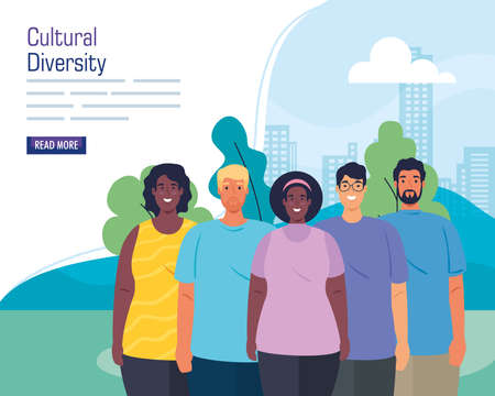 multiethnic group of people together in cityscape, cultural and diversity concept vector illustration design Illusztráció
