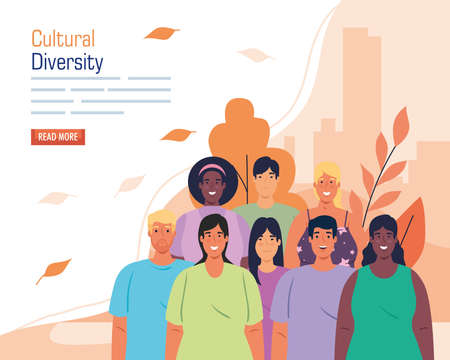 multiethnic group people together in cityscape, cultural and diversity concept vector illustration design Illusztráció
