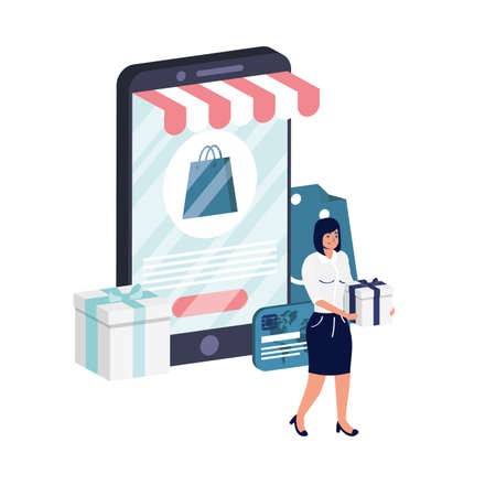 business online ecommerce with woman using smartphone vector illustration design 矢量图像