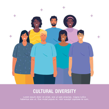 banner of multiethnic young people together, cultural and diversity concept vector illustration design