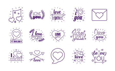 I love you texts line style icon set design of Passion and romantic theme Vector illustration Stock Illustratie