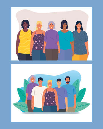 set of scenes of multiethnic people together, cultural and diversity concept vector illustration design 矢量图像
