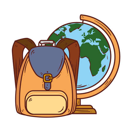 school symbol, backpack with world planet earth school supply vector illustration design Çizim