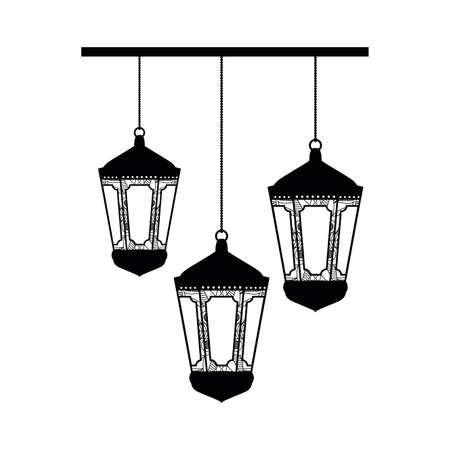 lamps hanging ramadan kareem decoration vector illustration design