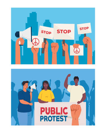 set of scenes people on protests with placards, human right concept vector illustration design