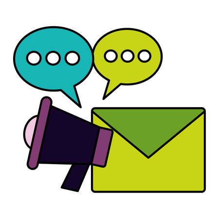 megaphone email marketing social media vector illustration