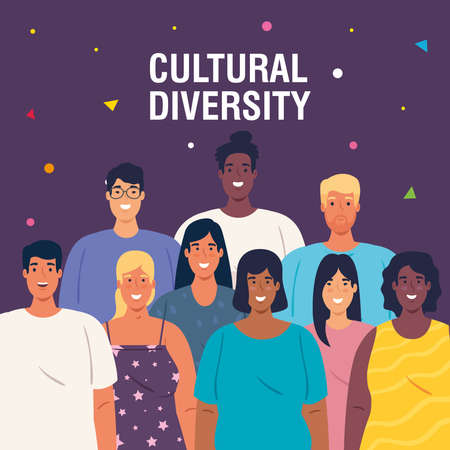 multiethnic young people together, diversity and cultural concept vector illustration design