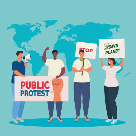 group people with protests placards, and map world on background, human right concept vector illustration design