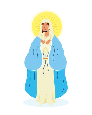 miraculous virgin assumption of mary vector illustration design