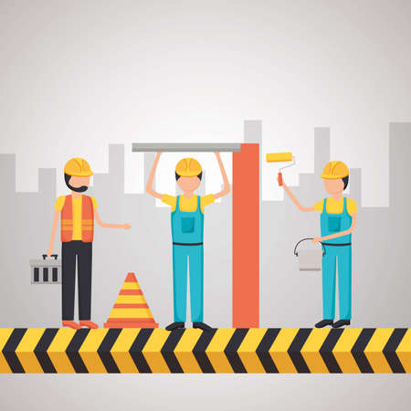 workers construction painting wall barrier vector illustration Иллюстрация